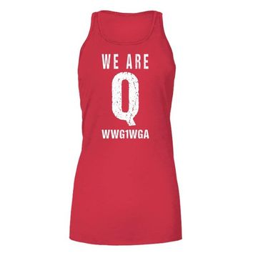 QAnon Tank Top We Are Q WWG1WGA Where We Go One We Go All Trump Rally Tanktop for Women Group QAnon Shirts Tees for Trump Rally