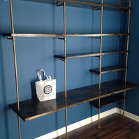 Industrial Shelving Unit (Industrial bookcase w/ desk, Industrial bookshelves, pipe shelving unit) w/ optional reclaimed wood