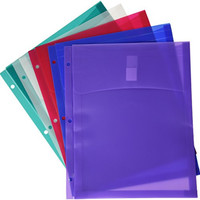 School Smart Poly Storage Envelopes for 3 Ring Binders - Pack of 5 - Assorted Colors