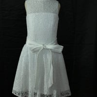 Lace flower girl dress with different color sash flower girl dress