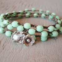 Mint green beaded bohemian crochet wrap bracelet by slashKnots
