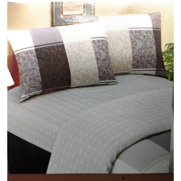 Floral Paisley Linen Fitted & Flat Sheets Set with Pillow Cases Sham Covers (FSFS8222)