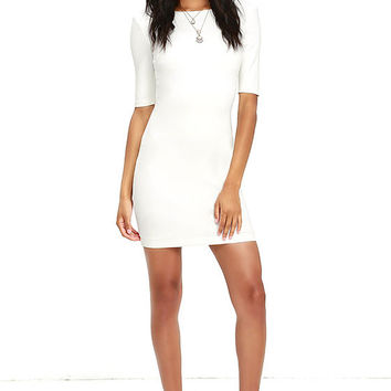 Point of Inflection Ivory Bodycon Dress