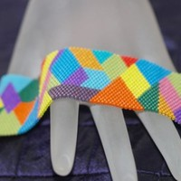Crazy Quilt ... Peyote Bracelet . Beadwoven Cuff . Multi Color . Colorful . Geometric . Patchwork . Rainbow . Opaque Beads . Cheerful