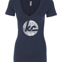 kc collection - women's deep v-neck soft-wash t