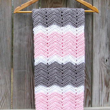 Baby Blanket in Pink, Grey, White Baby Afghan Hand Crocheted