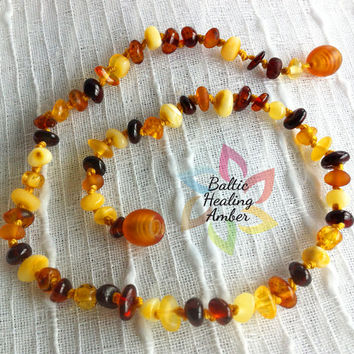 Baby Baltic Polished Amber necklace designed with 100% Baltic amber round polished multicolored beads