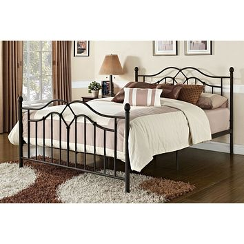 Queen Size Brushed Bronze Metal Bed with Headboard & Footboard