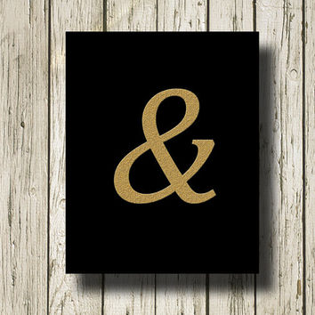 Ampersand Print  And Golden Black Print Poster Printable Instant Download Digital Art Wall Art Home Decor G087black