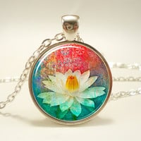 Lotus Blossom Necklace, Zen Yoga Jewelry, Buddhist Charm (1068S1IN)