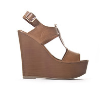 Popular Open Toe Cognac Wedges