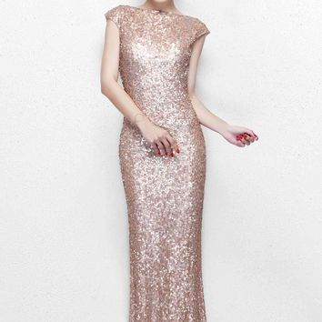 Primavera Couture - Ultra Sparkling Plunging Back Long Sequin Sheath Dress 1256