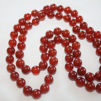 Vintage Carnelian Necklace, Gemstone Bead Jewelry, Art Deco Necklace, 1930s Boho Jewelry