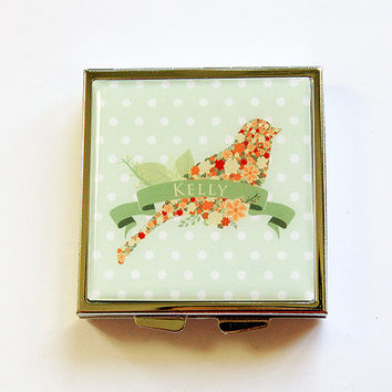 Personalized Pill Case, Personalized Pill Box, Pill container, Square Pill case, Custom, Bird, Green, Polka Dot, Square Pill box (4369)