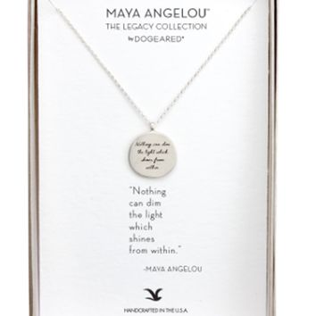 Dogeared Maya Angelou Nothing Can Dim The Light Circle Pendant Necklace