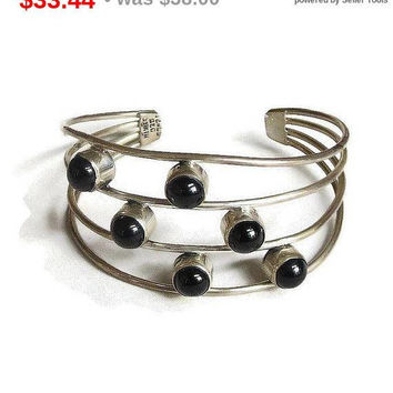 SALE Sterling Silver and Onyx Modernist Cuff Bracelet Vintage Taxco Signed 925 Mexico