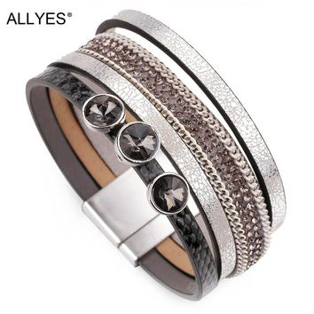 ALLYES Multilayer Leather Bracelets For Women Jewelry Vintage Rhinestone Crystal Bohemian Female Wide Wrap Bangle Bracelet Femme