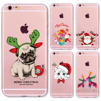 Christmas New Year Gifts Tree Snowman Animals Case For iphone 6 6s / 7 Plus 6Plus 5 5s SE 4 4s 5C Soft Silicone Back Cover Case