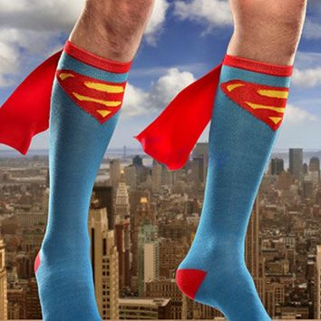 HOT Unisex Super Hero Superman Batman Knee High With Cape Cosplay Socks