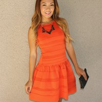 Drop Waist 'Maddie' Dress (Orange)