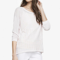 RELAXED MIXED MESH HI-LO HEM SWEATER from EXPRESS