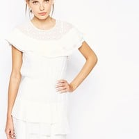 BCBGMAXAZRIA Cocktail Frill Dress In Lace