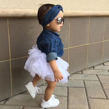 3PCS Toddler Kids Baby Girl Clothes Set Denim Tops T-shirt +Tutu Skirt Headband Outfits Summer Cowboy Suit Children Set