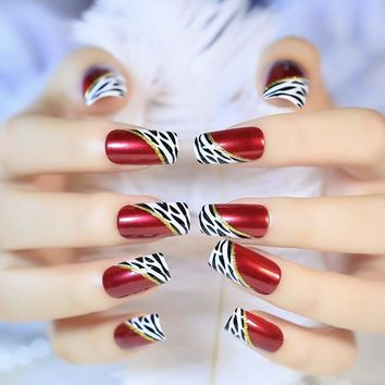 24 Pcs Long Fake Nails Red Wine Oblique Leopard French Ellipse artificial nails on The Patch for Party Office