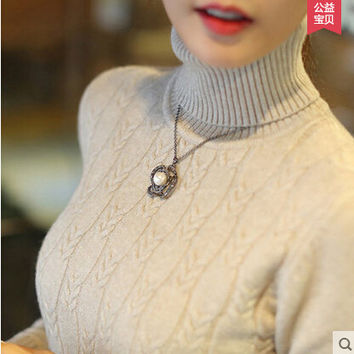 Hot Selling Winter Womens Sweaters Fashion 2015 Autumn and Winter Womens Sweater and Pullovers Turtleneck Knitted Sweater