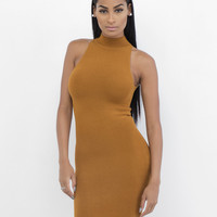 BANDIT Sleeveless Mock Neck Burnt Orange Bodycon Dress – FLYJANE