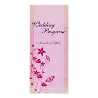 Wedding Program | Pink & Red Flower Butterfly Announcement