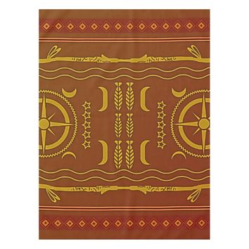 Golden Brown African Symbols Pattern Tablecloth