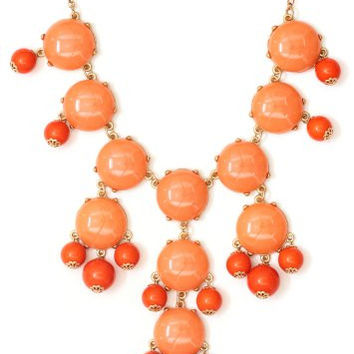 Bubble Bib Necklace Coral Orange NJ14 Beaded Bauble Gold Tone Luxury Large Statement Fashion Jewelry