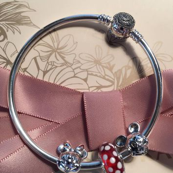 Authentic Pandora Disney Beauty And The Beast Bangle, Mickey And Minnie Bracelet Three