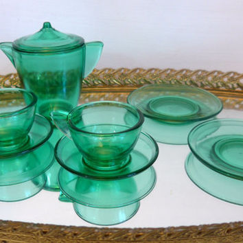 Vintage 8 Pc. Child Tea Set Akro Agate American Maid Green Depression Glass Co. Circa 1930s - Miniature Tea Set Green Depression Glass