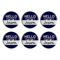 Jason Hello My Name Is Plastic Resin Button Set of 6