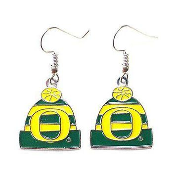 NCAA Licensed Beanie Knit Hat Dangle Earrings (Oregon Ducks)