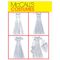 McCall's Costumes Sewing Pattern M4491 Renaissance Medieval Gown Dress Princess Queen Draped Sleeves Lace Up Back Wedding Uncut Plus Size XL