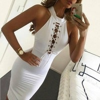 CREY7ON hollow out solid bodycon dress