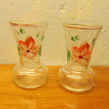 TWO SMALL PRESSED GLASS VINTAGE BUD VASES