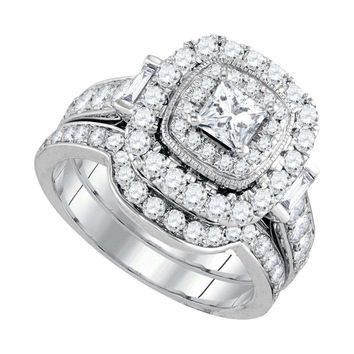 14kt White Gold Women's Princess Diamond Halo Bridal Wedding Engagement Ring Band Set 2.00 Cttw - FREE Shipping (US/CAN)