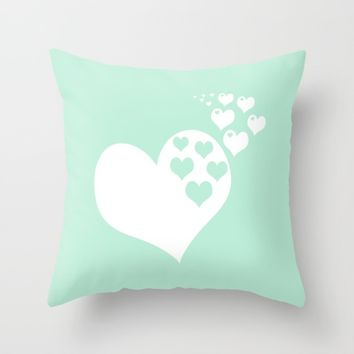 Mint Green Hearts of Love Throw Pillow by Beautiful Homes