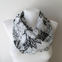 Black White Floral Pattern Chiffon Infinity Scarf - Circle Scarf - Loop Scarf - Fall Winter Summer Fashion