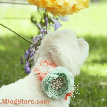 Peach and Mint Floral Dog Collar, Pet Wedding Accessory