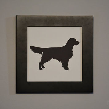Golden Retriever Silhouette Cut Out, Framed Pet Silhouette, Choose Your Breed, Custom Pet Silhouette 8 by 8 Framed, Silhouette Framed Cutout