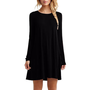 New sweet cotton autumn winter brief women long sleeve casual loose pleated mini party dresses