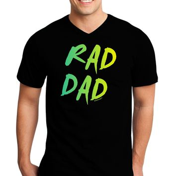 Rad Dad Design - 80s Neon Adult Dark V-Neck T-Shirt