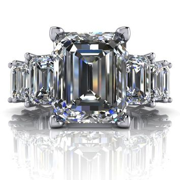 Free Center Stone!  Graduated Emerald Cut Partial Eternity Engagement Ring Semi-Mount - Moissanite Engagement Ring