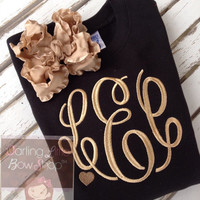 Monogrammed Sweathshirt for girls with matching ruffle bow - Gorgeous in Gold - black sweatshirt with gold heart accent - 2t 3t 4t 5/6 7