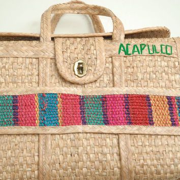 Vintage Awesome Cornhusk Acapulco Clasp Ethnic and Colorful Tote Bag Purse